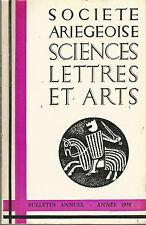 Société ariégeoise sciences lettres arts 1978 bulletin annuel