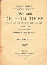 Répertoire de peintures du Moyen Age et de la Renaissance (1280-1580) Tome 3