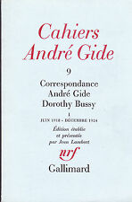Cahiers André Gide 9 Correspondance André Gide Dorothy Bussy tome I