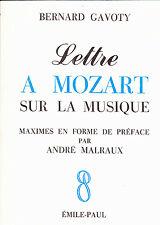 Bernard Gavoty Lettre à Mozart sur la musique
