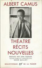 Albert Camus, Théatre, Récits, Nouvelles, Bibliothèque de La Pléiade