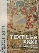 Deburaux, Textiles XXXII, Drouot Richelieu 12 décembre 2009