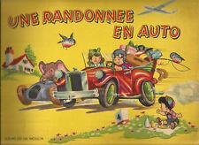 Livre d'enfants, Une randonnée en auto Albums du Gai Moulin. Voiture dépliante