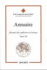 EPHE Annuaire de la section des sciences religieuse tome 123
