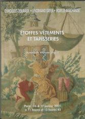 Etoffes, vêtements et tapisseries, Paris Drouot-Richelieu 16 & 17 janvier 2001