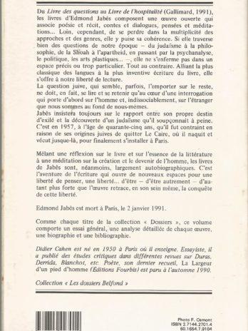 Edmond Jabès, par Didier Cahen