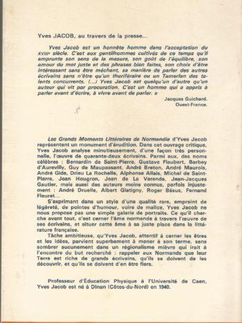 Les grands moments littéraires de Normandie du XVIIIe siècle à nos jours, par Yves Jacob