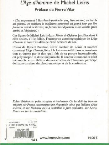 L'âge d'homme de Michel Leiris, par Robert Bréchon