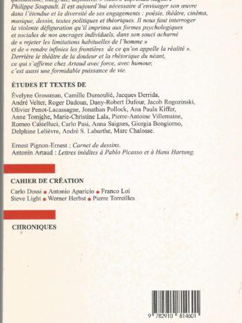 Europe janvier-février 2002, n° 873-874, Antonin Artaud